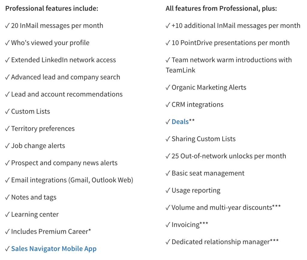 sales navigator cost features