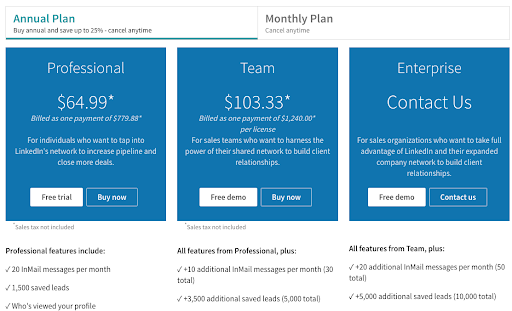 sales nav plan with inmail credits